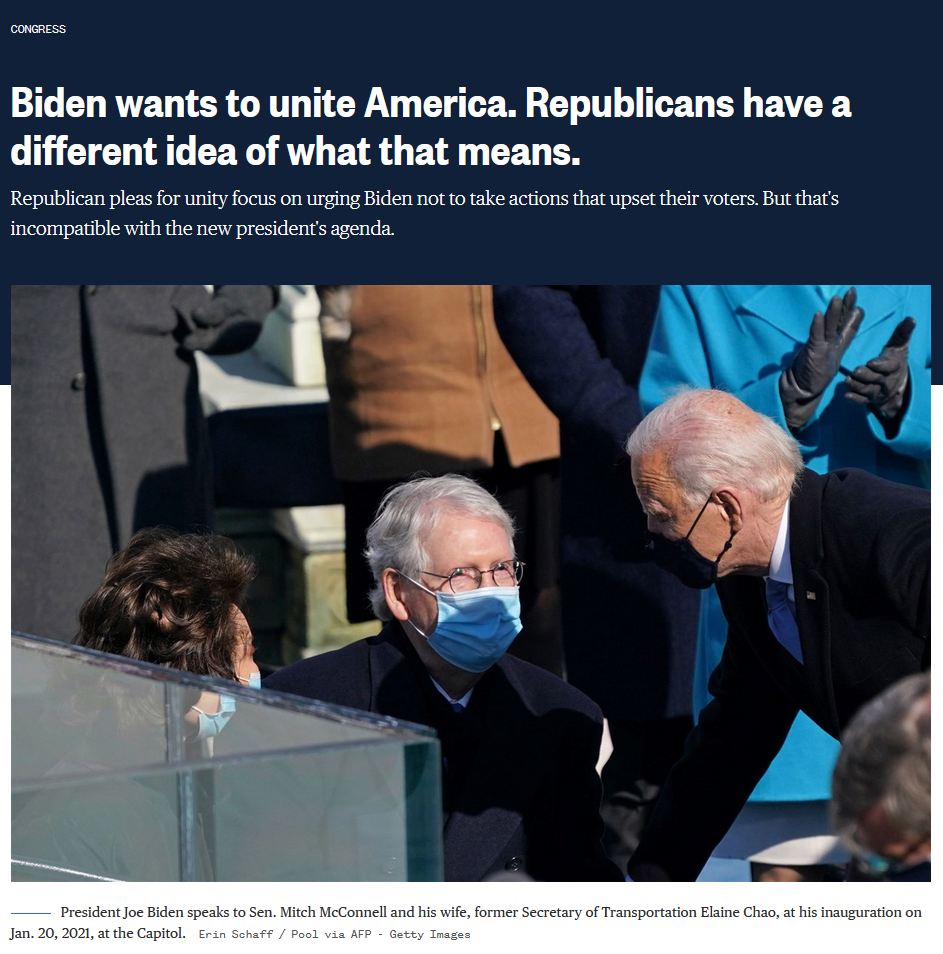 NBC: Biden wants to unite America. Republicans have a different idea of what that means.