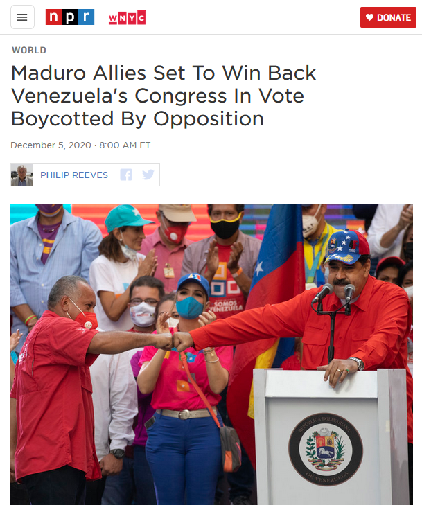 NPR: Maduro Allies Set To Win Back Venezuela's Congress In Vote Boycotted By Opposition