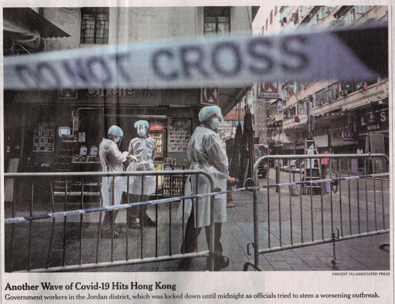 NYT: New Wave of Covid Hits Hong Kong