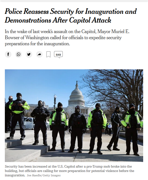NYT: Police Reassess Security for Inauguration and Demonstrations After Capitol Attack