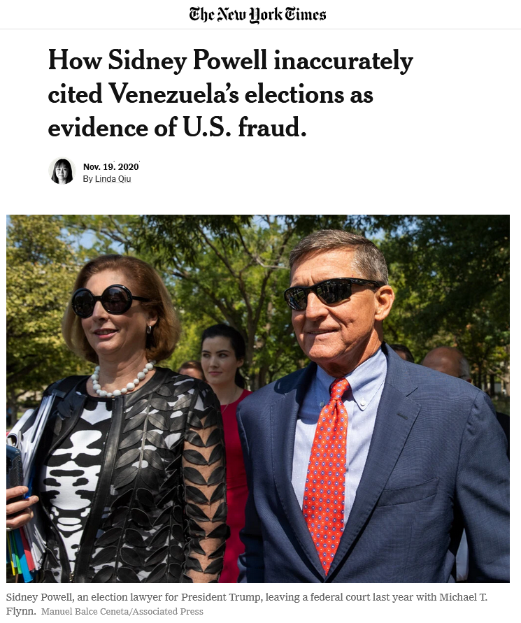 NYT: How Sidney Powell inaccurately cited Venezuela's elections as evidence of U.S. fraud.