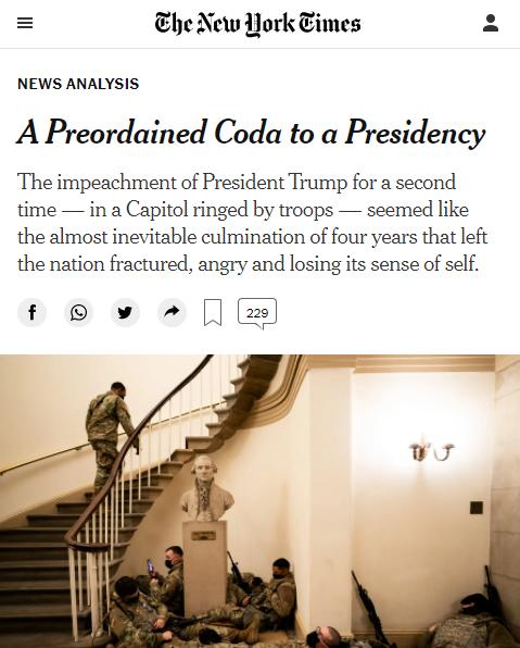 NYT: A Preordained Coda to a Presidency
