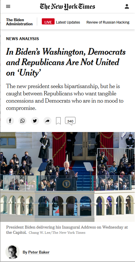 NYT: In Biden's Washington, Democrats and Republicans Are Not United on 'Unity'