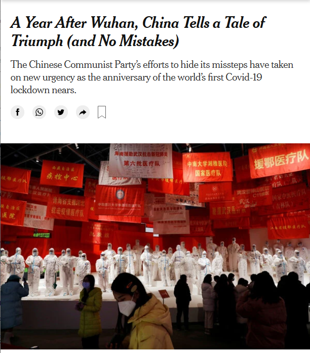 NYT: A Year After Wuhan, China Tells a Tale of Triumph (and No Mistakes)