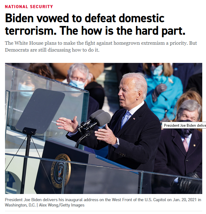 Politico: Biden vowed to defeat domestic terrorism. The how is the hard part.