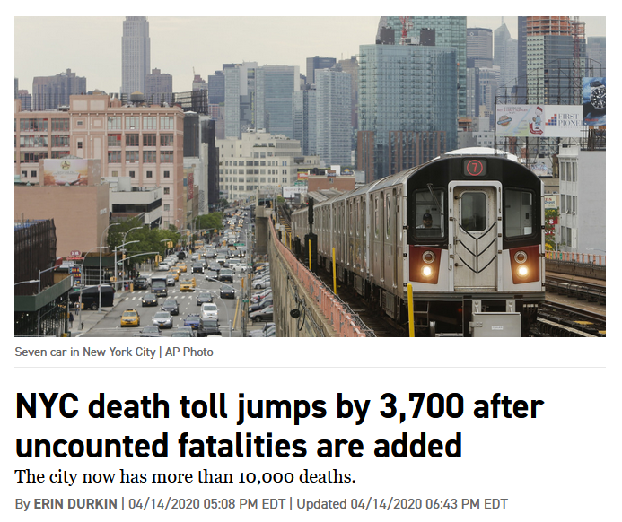 Politico: NYC death toll jumps by 3,700 after uncounted fatalities are added