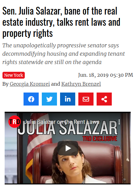 Real Deal: Sen. Julia Salazar, bane of the real estate industry, talks rent laws and property rights