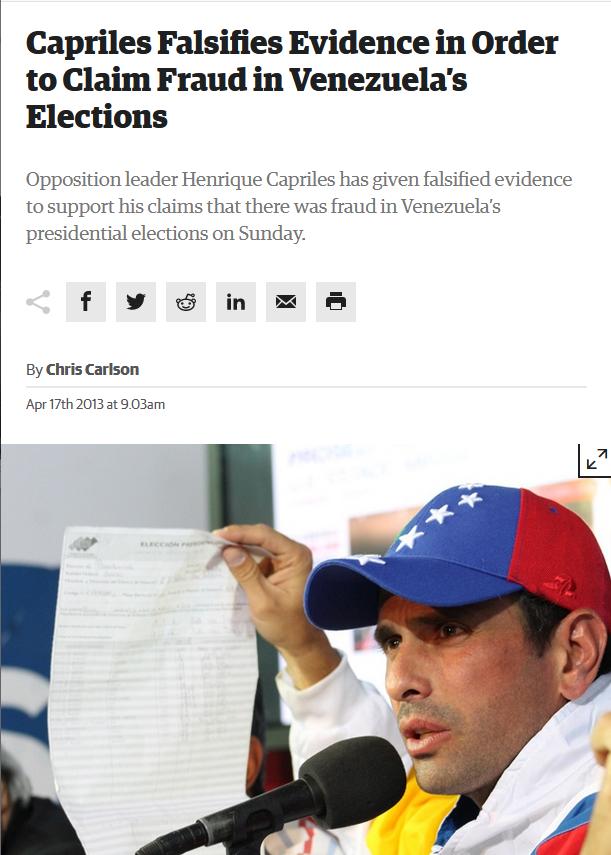 Venezuelanalysis: Capriles Falsifies Evidence in Order to Claim Fraud in Venezuela's Elections