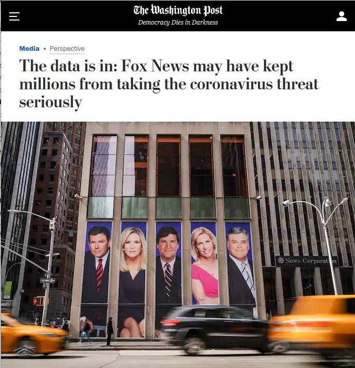 WaPo: The data is in: Fox News may have kept millions from taking the coronavirus threat seriously