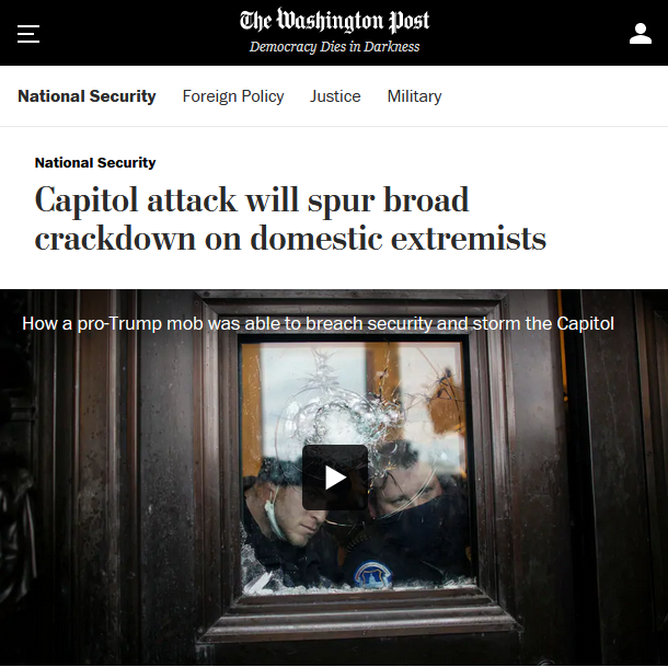 WaPo: Capitol attack will spur broad crackdown on domestic extremists