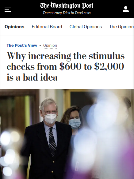 WaPo: Why Increasing the Stimulus Checks From $600 to $2,000 Is a Bad Idea