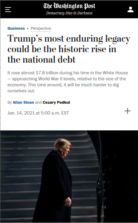 WaPo: Trump's most enduring legacy could be the historic rise in the national debt