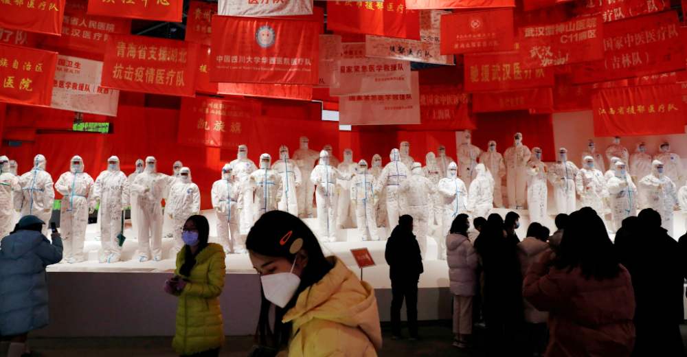New York Times depiction of an exhibit in Wuhan commemorating the first anniversary of the Covid lockdown.