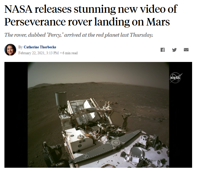 ABC: NASA releases stunning new video of Perseverance rover landing on Mars