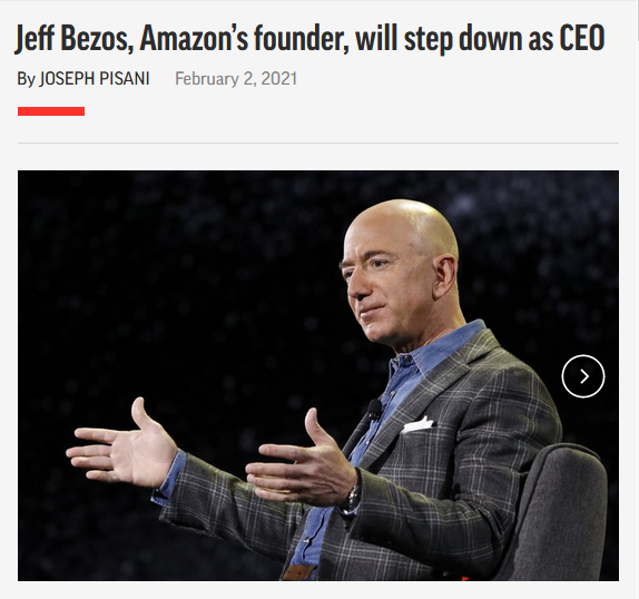 AP: Jeff Bezos, Amazon's founder, will step down as CEO