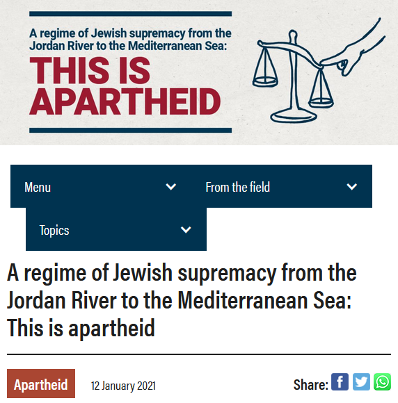 B'Tselem: This Is Apartheid
