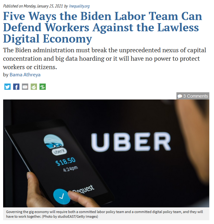 Common Dreams: Five Ways the Biden Labor Team Can Defend Workers Against the Lawless Digital Economy