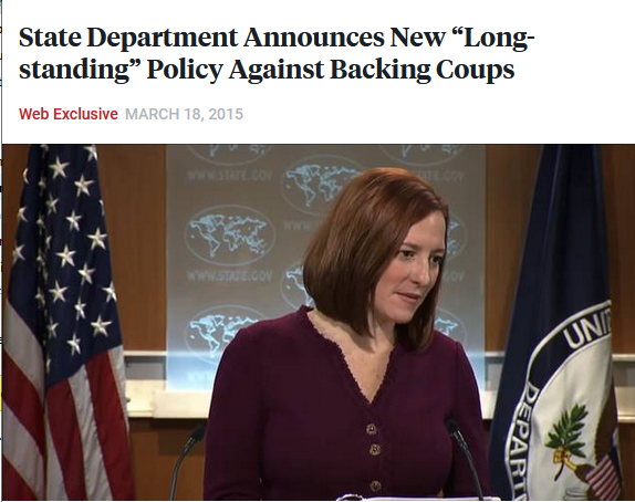 "Democracy Now!: State Department Announces New ""Long-standing"" Policy Against Backing Coups"