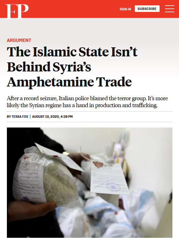 Foreign Policy: The Islamic State Isn't Behind Syria's Amphetamine Trade