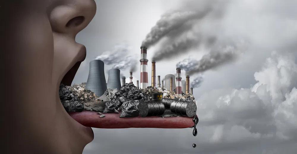 Illustration of fossil fuel pollution