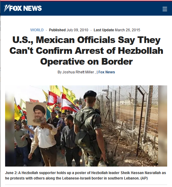Fox News: U.S., Mexican Officials Say They Can't Confirm Arrest of Hezbollah Operative on Border