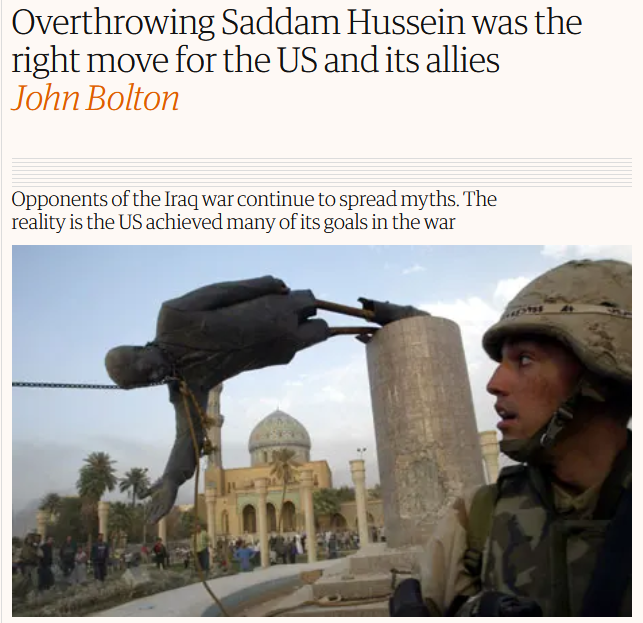 Guardian: Overthrowing Saddam Hussein was the right move for the US and its allies