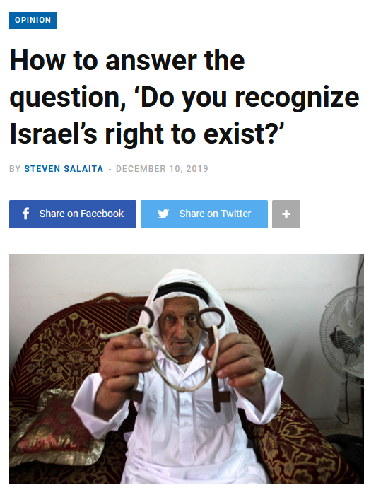 Mondoweiss: How to answer the question, 'Do you recognize Israel's right to exist?'