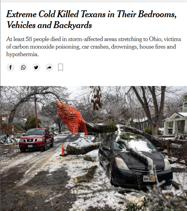 NYT: Extreme Cold Killed Texans in Their Bedrooms, Vehicles and Backyards