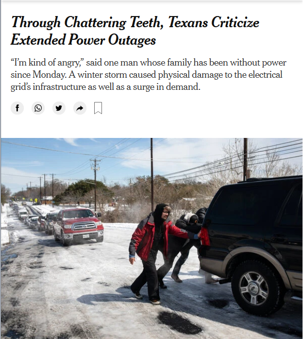 NYT: Through Chattering Teeth, Texans Criticize Extended Power Outages