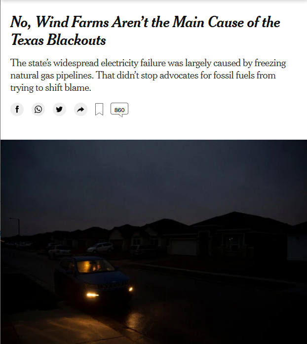 NYT: No, Wind Farms Aren't the Main Cause of the Texas Blackouts