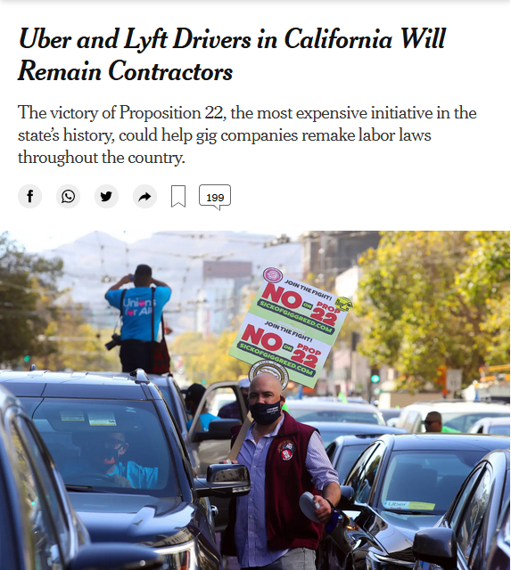 NYT: Uber and Lyft Drivers in California Will Remain Contractors