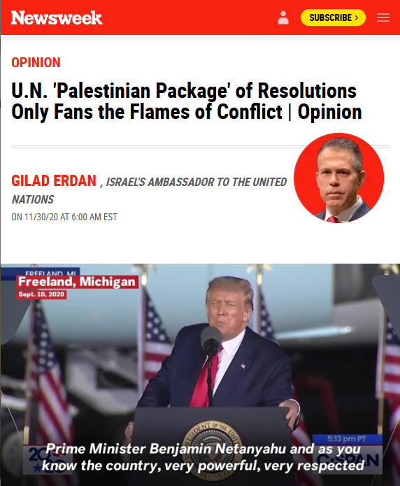 Newsweek: U.N. 'Palestinian Package' of Resolutions Only Fans the Flames of Conflict