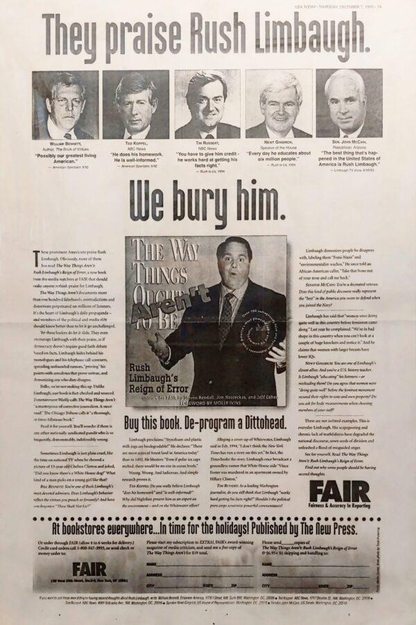 FAIR: They Praise Rush Limbaugh. We Bury Him.