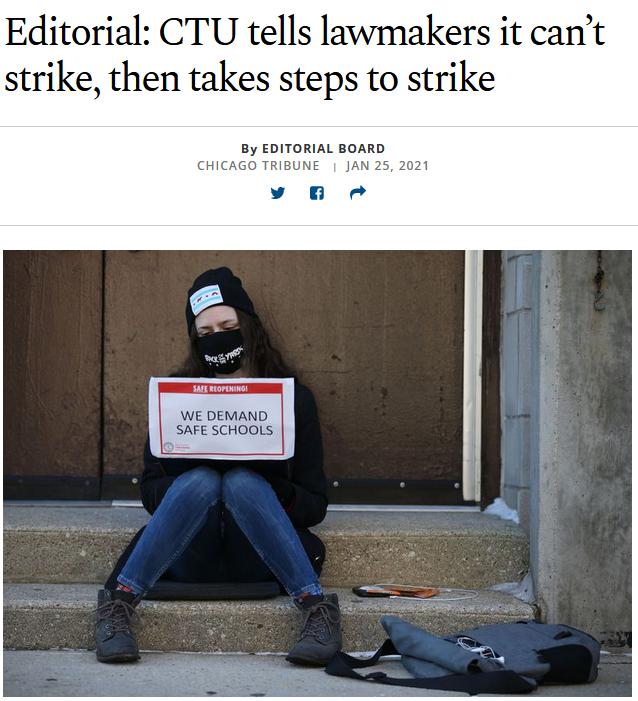 Chicago Tribune: CTU tells lawmakers it can't strike, then takes steps to strike