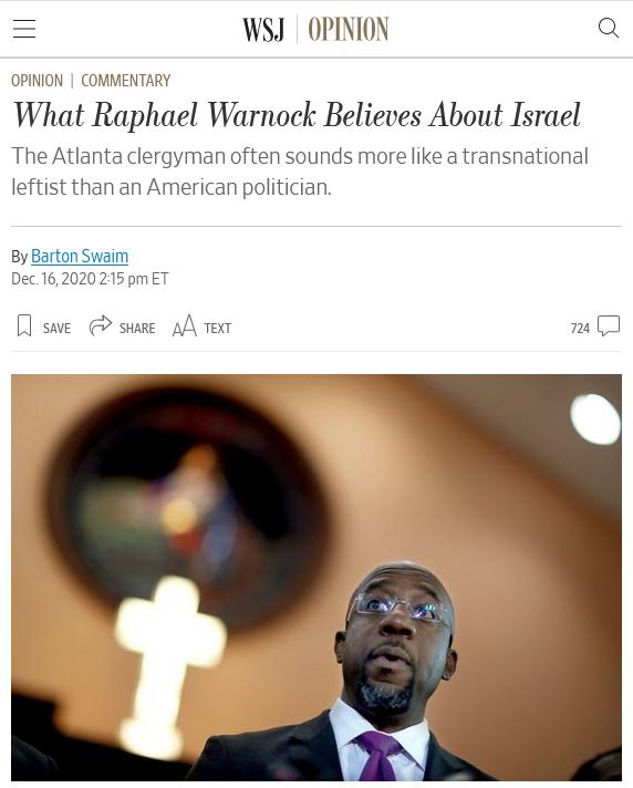 WSJ: What Raphael Warnock Believes About Israel