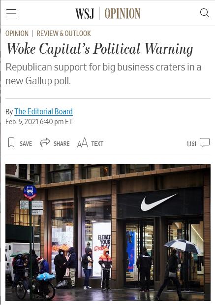 WSJ: Woke Capital's Political Warning