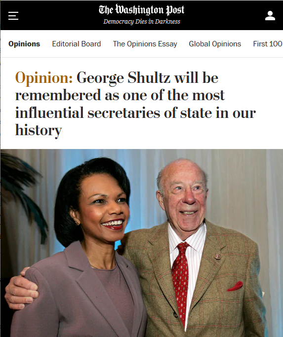 WaPo: George Shultz will be remembered as one of the most influential secretaries of state in our history