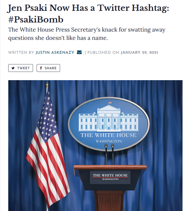 Washingtonian: Jen Psaki Now Has a Twitter Hashtag: #PsakiBomb