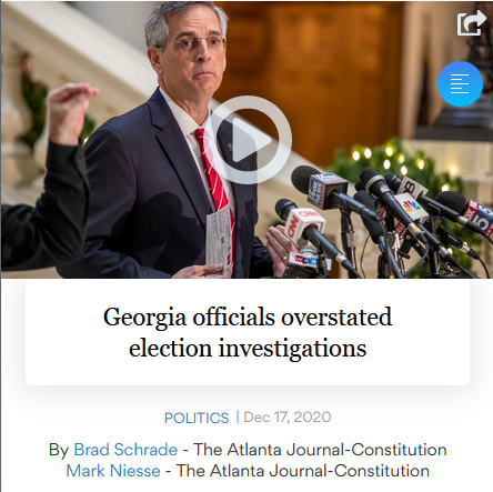 Georgia Officials Overstated Election Investigation