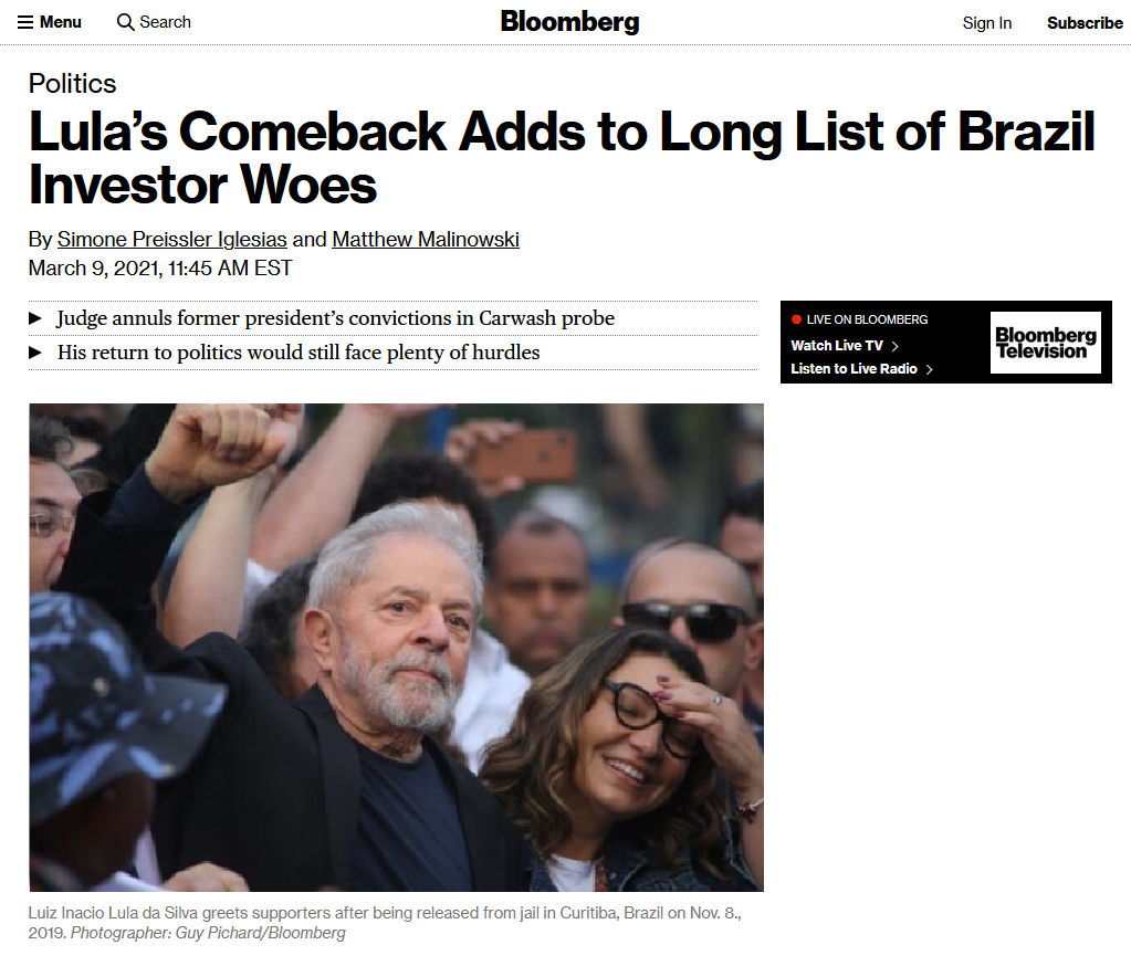 Bloomberg: Lula's Comeback Adds to Long List of Brazil Investor Woes