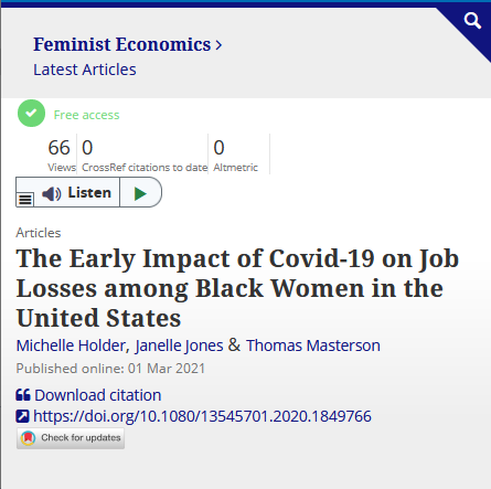 Feminist Economics: The Early Impact of Covid-19 on Job Losses among Black Women in the United States