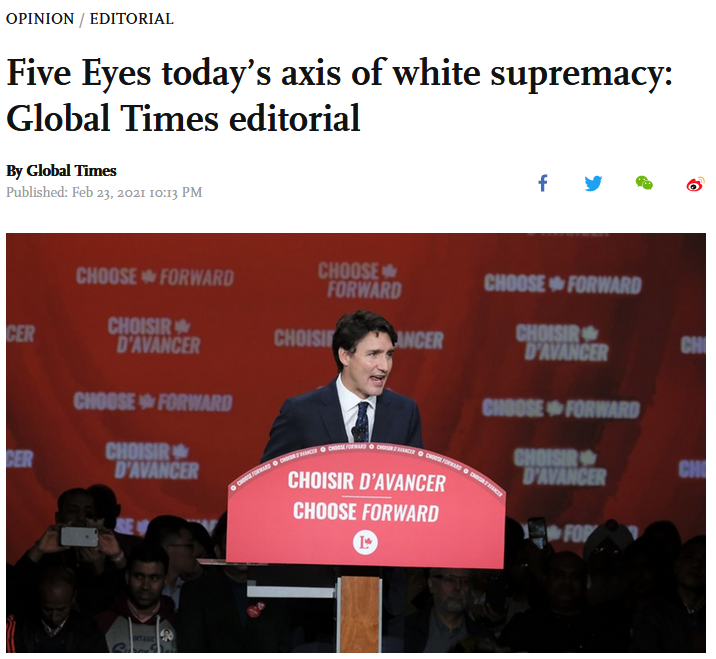 Global Times: Five Eyes today's axis of white supremacy
