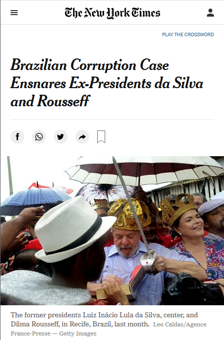 NYT: Brazilian Corruption Case Ensnares Ex-Presidents da Silva and Rousseff