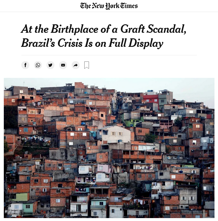 NYT: At the Birthplace of a Graft Scandal, Brazil's Crisis Is on Full Display