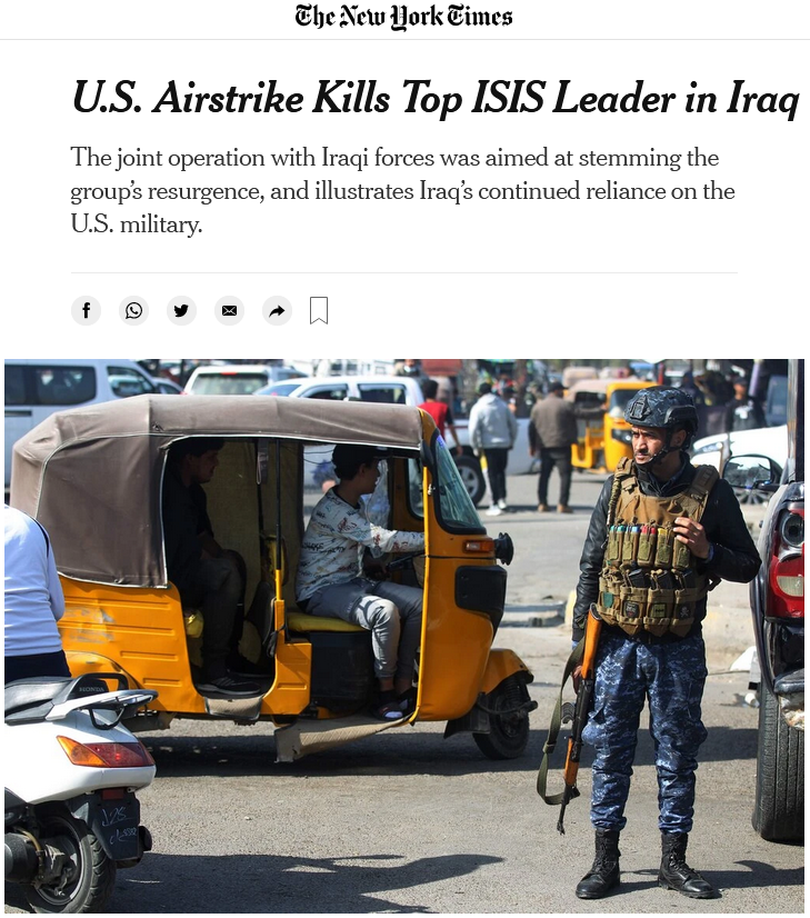 NYT: U.S. Airstrike Kills Top ISIS Leader in Iraq