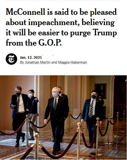 NYT: McConnell is said to be pleased about impeachment, believing it will be easier to purge Trump from the G.O.P.