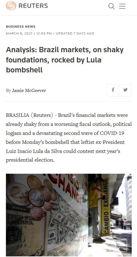 Reuters: Brazil markets, on shaky foundations, rocked by Lula bombshell