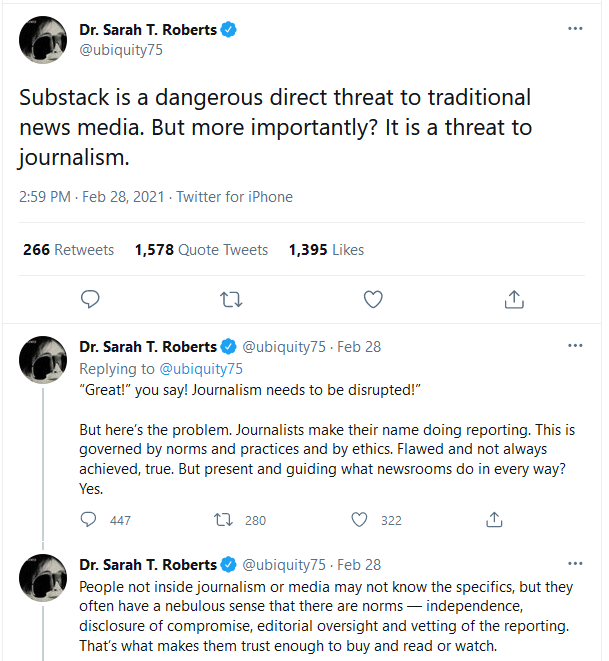 Twitter: Substack is a dangerous direct threat to traditional news media. But more importantly? It is a threat to journalism.