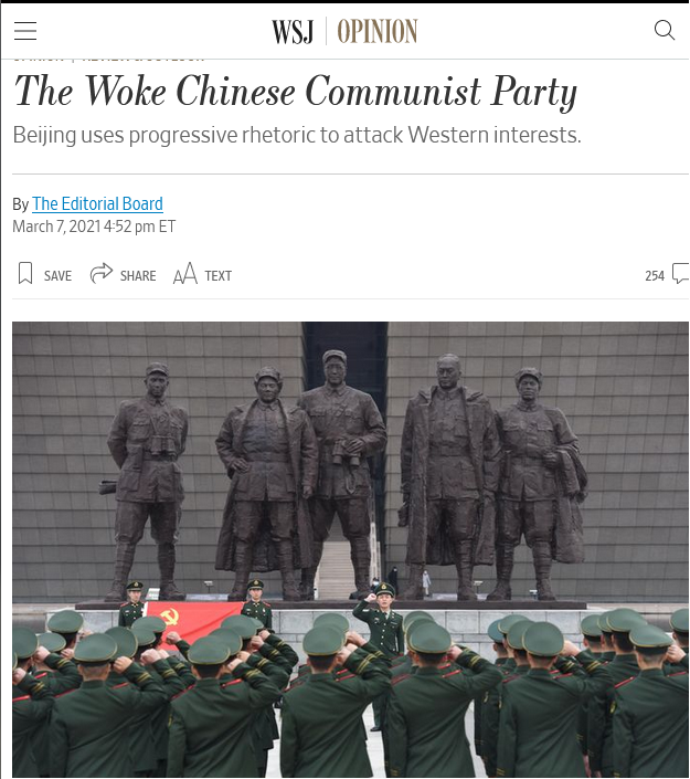 WSJ: The Woke Chinese Communist Party