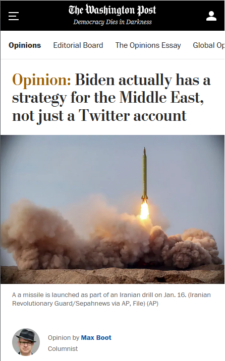WaPo: Biden actually has a strategy for the Middle East, not just a Twitter account